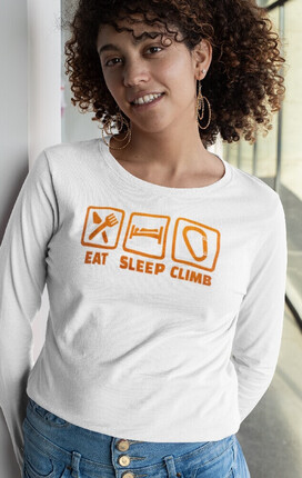 💥 Camiseta mujer manga larga Eat Sleep Climb | EntreRocas®